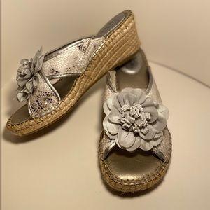 Life Stride Bloom Silver Espadrilles Size 6 1/2